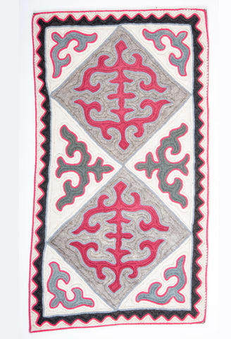Patterned Pink, Grey, White with Black Border Felt Rug
