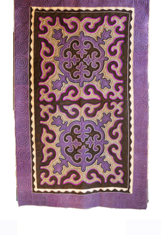 Patterned Felt Rug with Dark and Light Purple, White and Brown