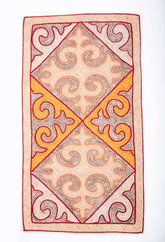 Tan Rug with White, Grey and Light Brown Patterns with Red Trim