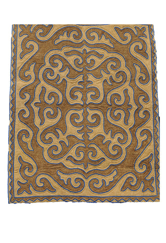 Brown and Tan Felt Rug with Blue Trim