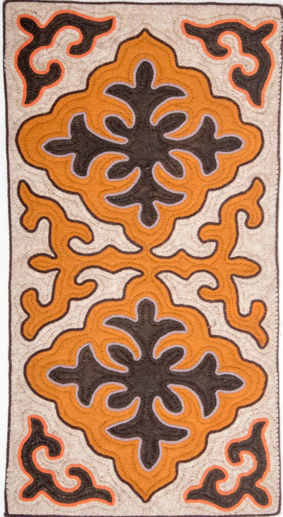 Tan Felt Rug with Brown and Orange Shapes with Orange or Grey Trim