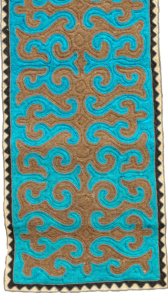 Teal and Brown Felt Rug with Black and White Border