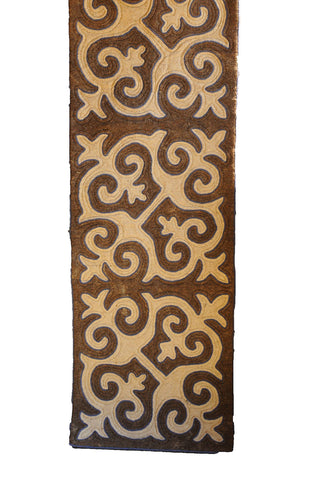 Brown and Light Brown Felt Runner Rug with Blue Trim
