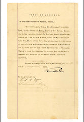 "Signed Thomas A. Edison Patent for Phonogram Blanks:  ""Genius is one percent inspiration...."""