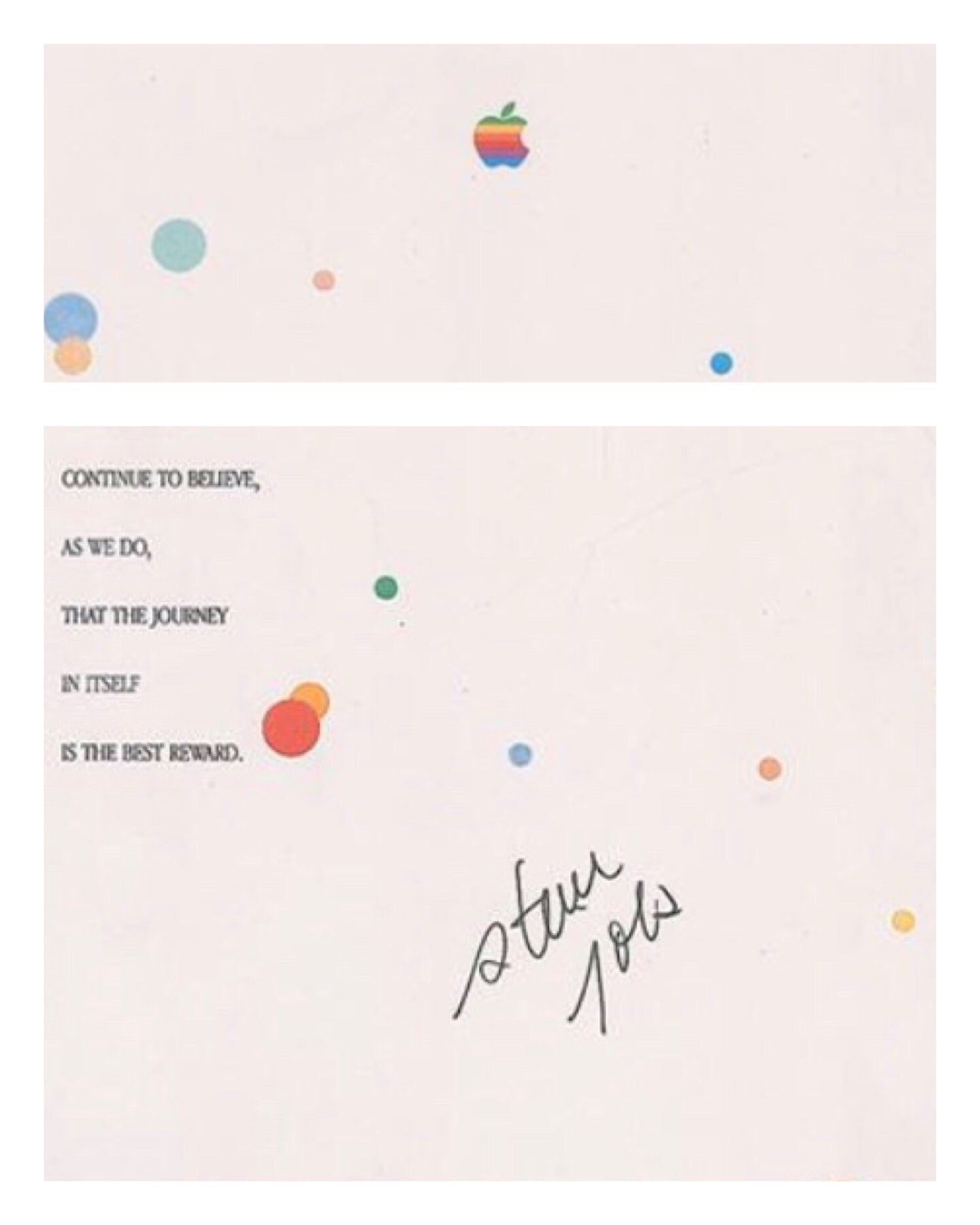 "Signed Steve Jobs Apple Award: ""Have the courage...."""
