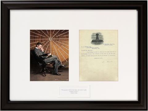 "Signed Nikola Tesla Letter: ""The present is the theirs...."""