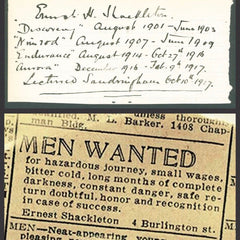 "Ernest H. Shackleton 1917 Document: ""Men Wanted for Hazardous Journey..."""