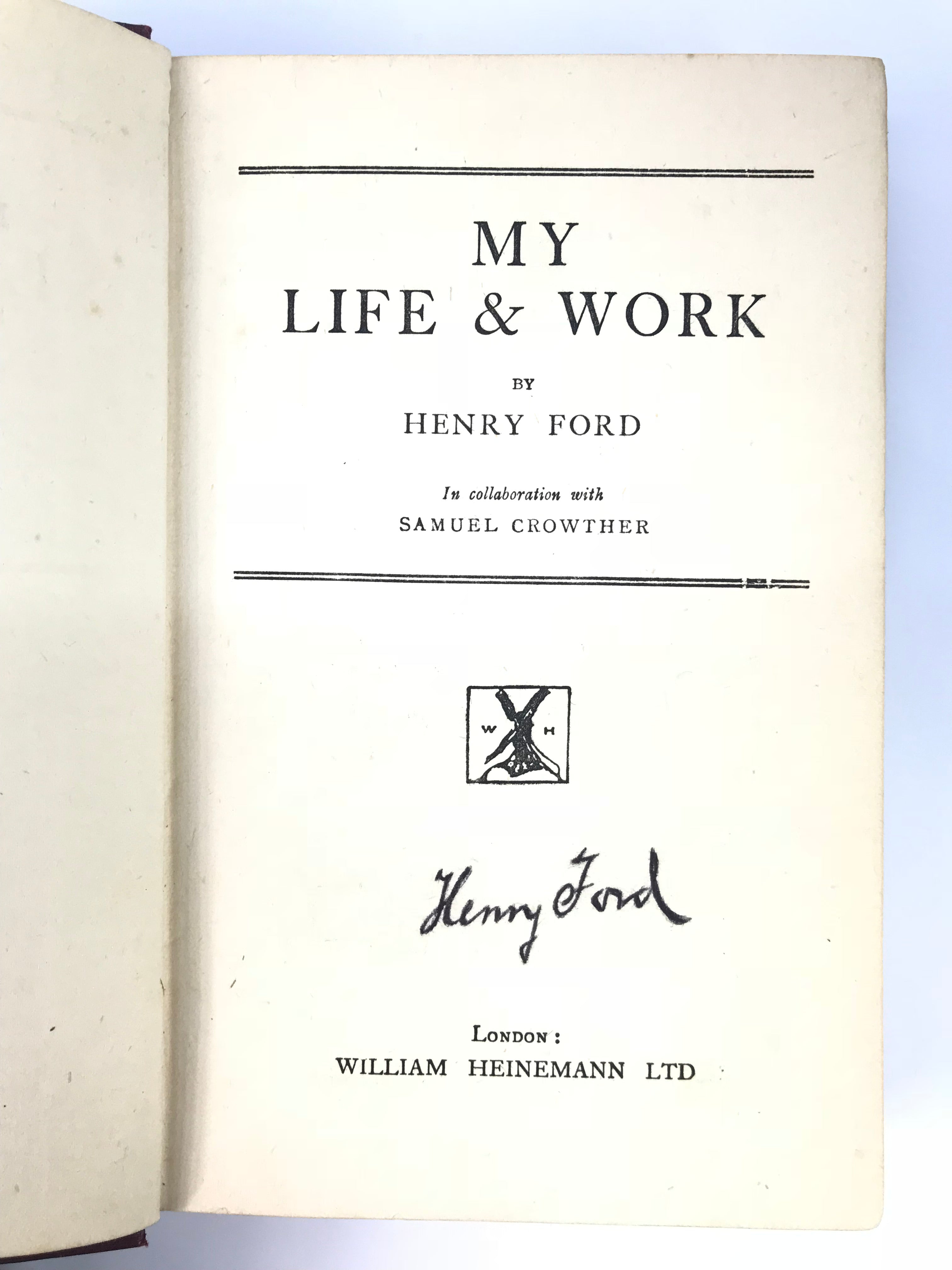 "Signed Henry Ford: ""My Life and Work (1928)"""