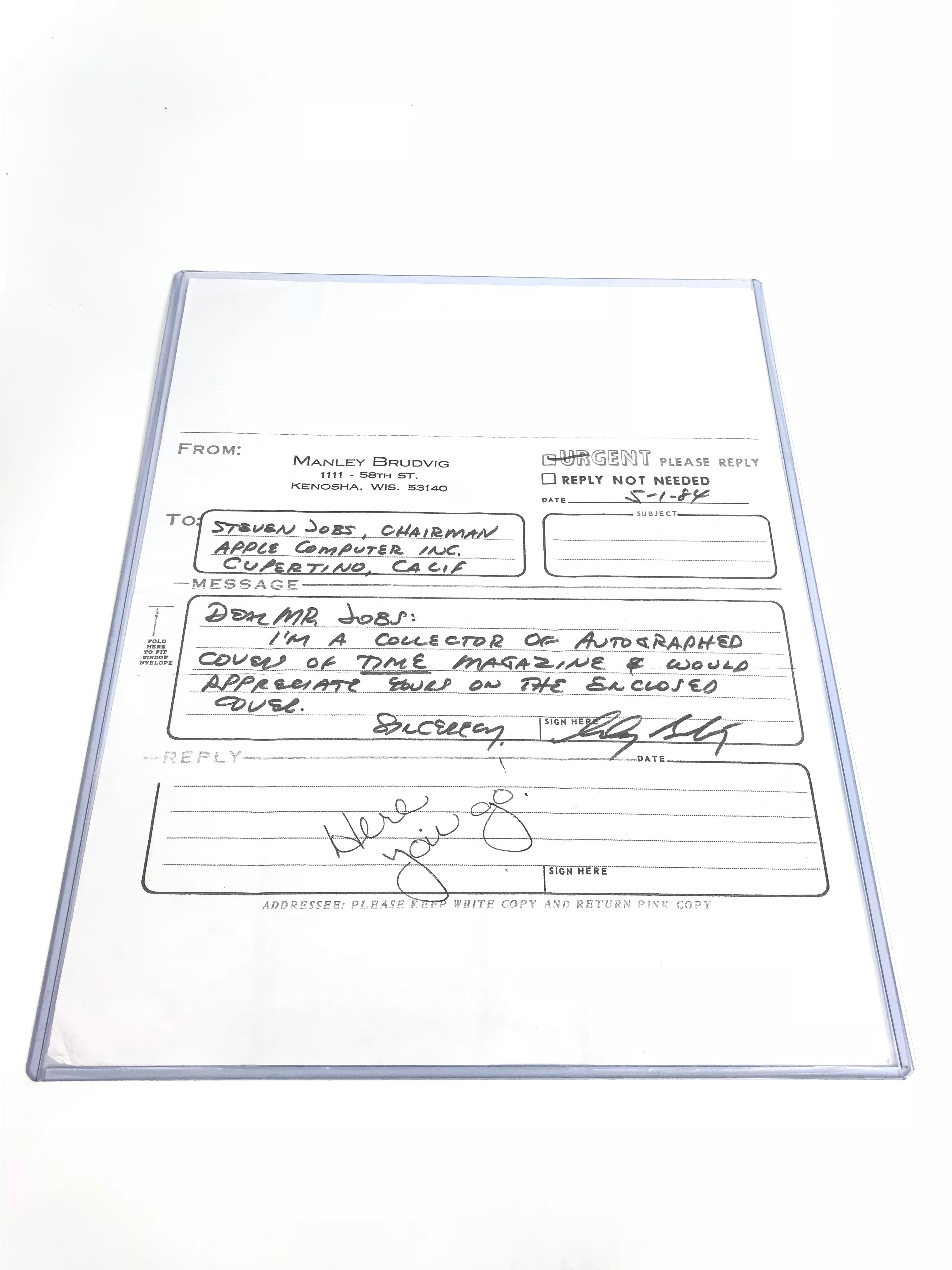 "Signed Steve Jobs: ""Stay Hungry, Stay Foolish"""