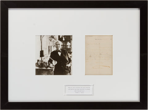 "Signed Thomas Edison: ""Many of Life's Failures..."""