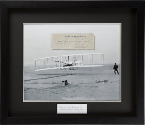"Signed Orville Wright: ""Lying in bed thinking about how exciting it would be to fly"""