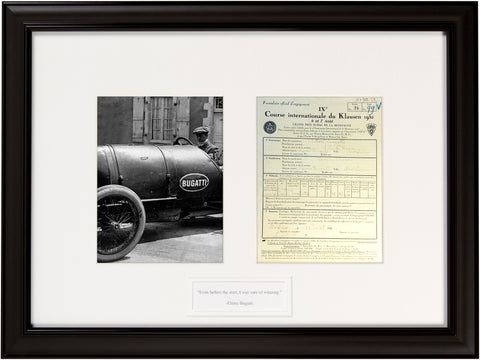 "Signed Ettore Bugatti 1932 Document  ""Even before the start...."""