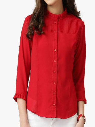 Red Georgette Accordion Pleated Cuff Top