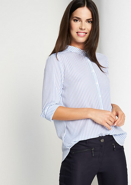 Striped Button Down Full Sleeved Blue Shirt