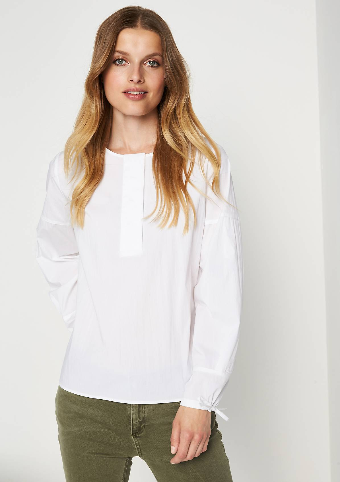 White Cotton Broad Open Placket Cuff Tie Blouse