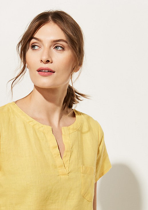 Yellow V Neck Front Pocket Half Sleeves Cotton Top
