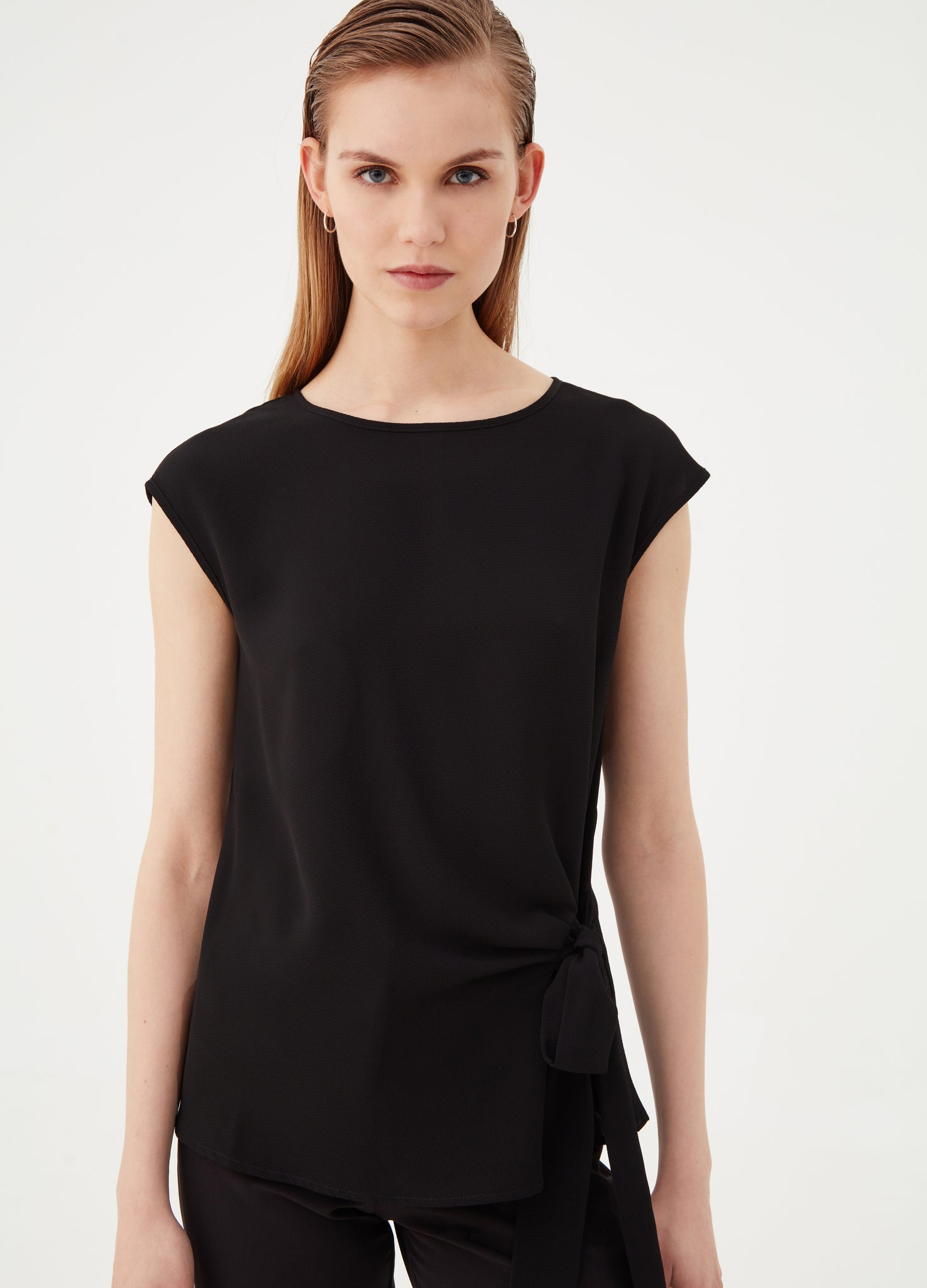 Futuristic Formal Side Fastening Black Blouse
