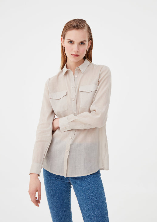 Fawn Button Down Full Sleeves Pocket Shirt