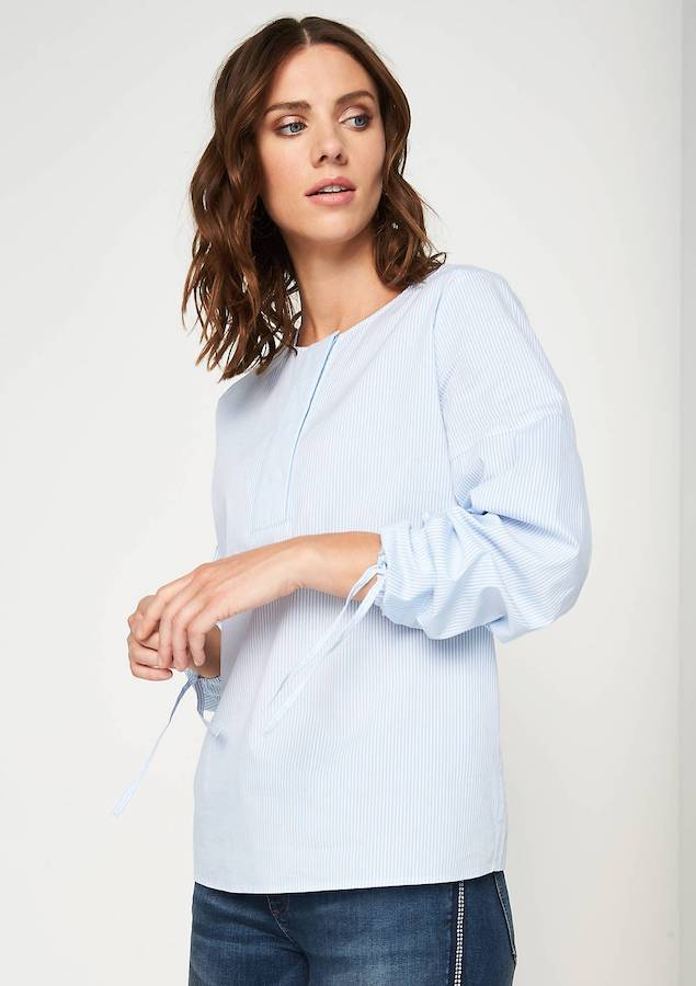 Blue Striped Cotton Broad Open Placket Cuff Blouse