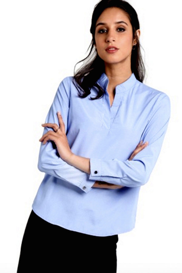 Blue Striped Button detail formal shirt