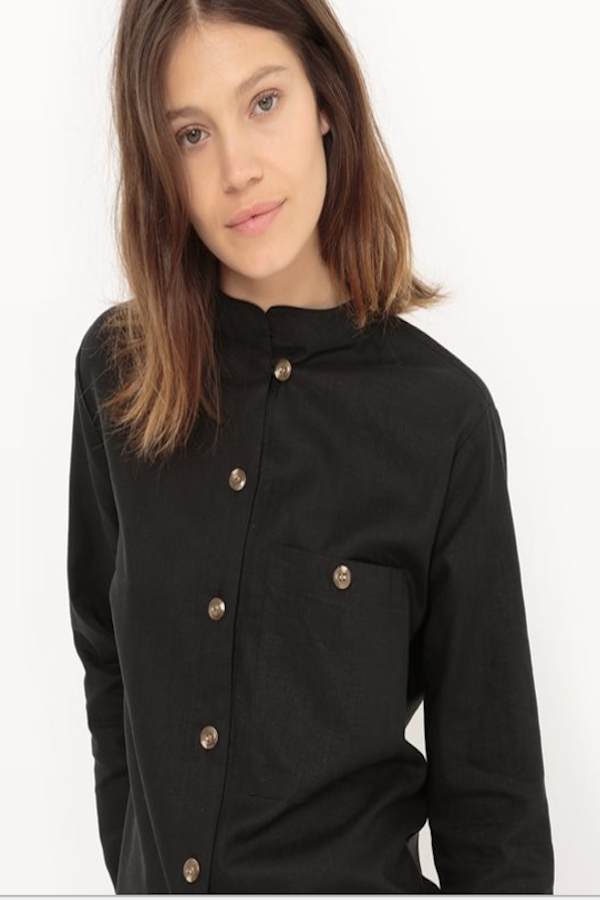 Black Linen Shirt with Mandarin Collar