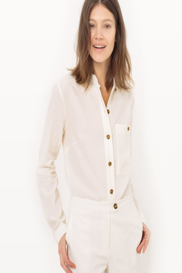 Ivory Linen Shirt  With Mandarin Collar