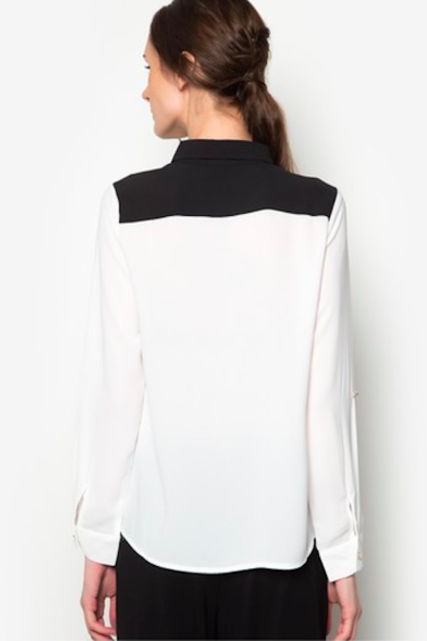 Formal White Color Block Collar Shirt