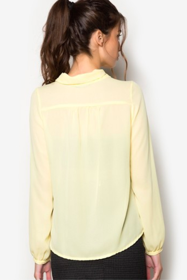 Front Tie Pastel Yellow Office Blouse