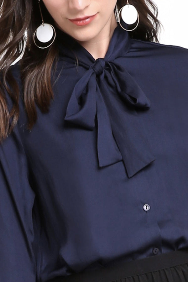 Blue Front Tie Formal Office Shirt