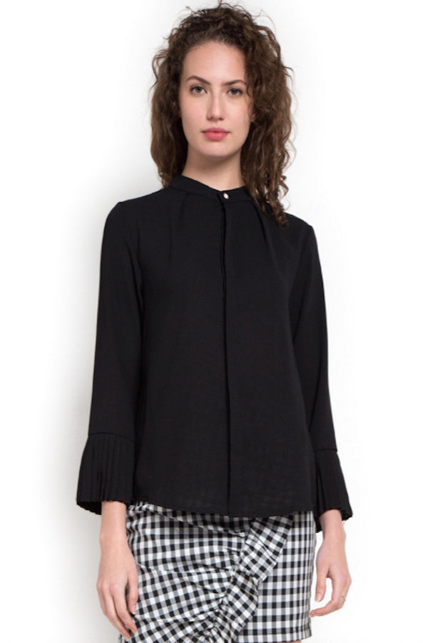 Black Pleated Cuff Gold Button Detailing Blouse