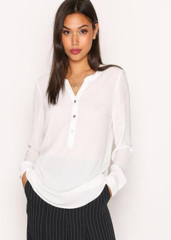 White Y Collar Button Detailed Full Sleeved Blouse