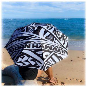 Born Hawaii Accessories POLY TAT WHITE BLACK UMBRELLA