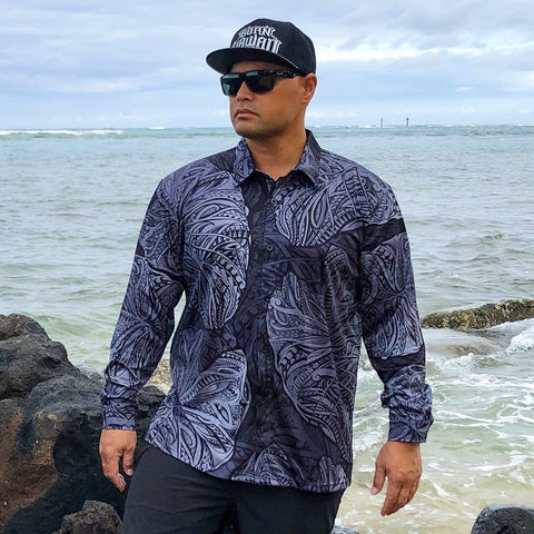 Born Hawaii Aloha Shirt Black and Grey Kalo Long Sleeve Aloha Shirt