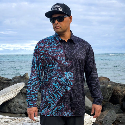 Born Hawaii Aloha Shirt Black and Teal Long Sleeve Aloha Shirt
