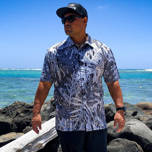 Born Hawaii Aloha Shirt BLACK AND WHITE LAUAE ALOHA SHIRT