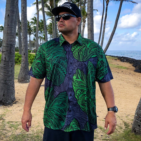 Born Hawaii Aloha Shirt BLACK GREEN KALO ALOHA SHIRT