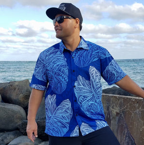 Born Hawaii Aloha Shirt BLUE ON BLUE KALO ALOHA SHIRT