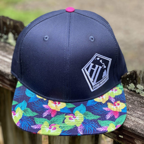 Born Hawaii Hat ORCHID SNAPBACK HAT NAVY PINK