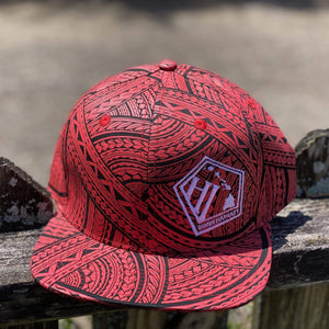 Born Hawaii Hat POLY TAT SNAPBACK HAT RED BLACK WHITE