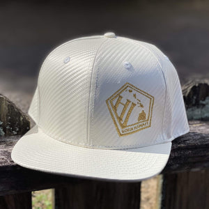 Born Hawaii Hat WHITE GOLD CARBON FIBER SNAPBACK HAT