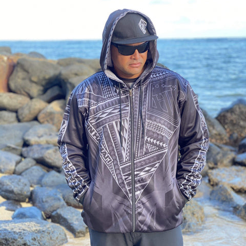 Born Hawaii Jacket KEAKA ZIP HOODIE GREY