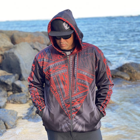 Born Hawaii Jacket KEAKA ZIP HOODIE RED