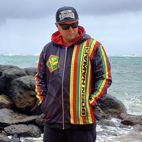 Born Hawaii Jacket TEAM KANAKA ZIP HOODIE BLACK