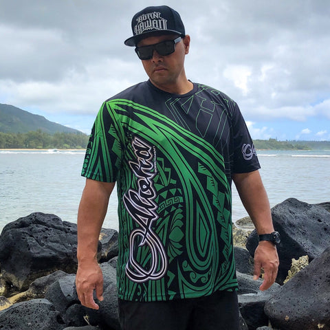Born Hawaii Jersey GREEN Horizon ALOHA Tattoo Jersey