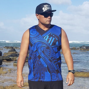 Born Hawaii Jersey Tank Top Blue MAKANI Tattoo Tank