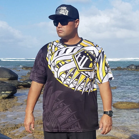 Born Hawaii Jersey YELLOW BLACK HAKA Tattoo Jersey