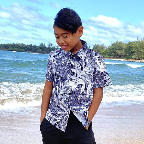 Born Hawaii LAUAE YOUTH ALOHA SHIRT BLACK GREY