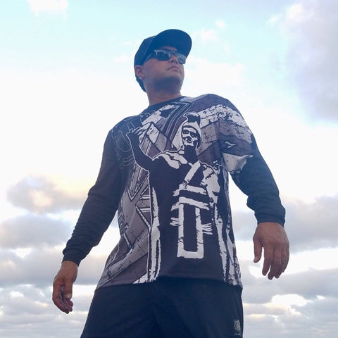 "Born Hawaii Long Sleeve Black and Grey ""Da King"" Long sleeve Drift Jersey"