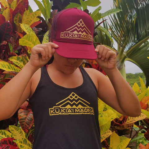Born Hawaii MAROON KŪKIA'I MAUNA TRUCKER HAT