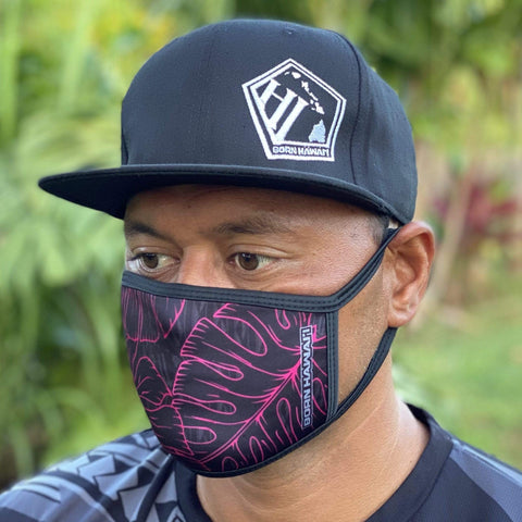 Born Hawaii MASK MONSTERA PINK BLACK FLAG FACE MASK
